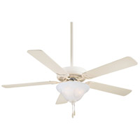 Contractor 52 inch Bone White Ceiling Fan in Etched Swirl Glass