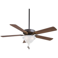 Contractor 52 inch Oil Rubbed Bronze with Medium Maple Blades Ceiling Fan in Etched Swirl Glass
