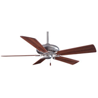 Supra 52 inch Brushed Steel with Dark Walnut Blades Ceiling Fan