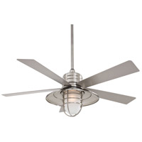 Rainman 54 inch Brushed Nickel Wet with Silver Blades Outdoor Ceiling Fan in Acid Etched