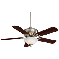 Bolo 52 inch Brushed Nickel with Dark Walnut Blades Ceiling Fan in Etched Swirl Glass