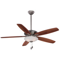 Mojo 52 inch Pewter with Medium Maple/Dark Walnut Blades Ceiling Fan in Dark Maple/Dark Walnut, Etched White Glass
