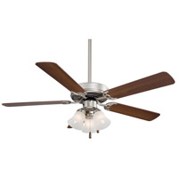 Contractor 52 inch Brushed Steel with Dark Walnut Blades Ceiling Fan in Etched Glass