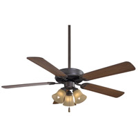 Minka-Aire F647-ORB/TS Contractor Uni-Pack 52 inch Oil Rubbed Bronze with Medium Maple Blades Ceiling Fan in Tea Stain Glass