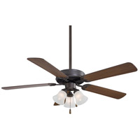 Contractor Uni-Pack 52 inch Oil Rubbed Bronze with Medium Maple Blades Ceiling Fan in Etched Glass