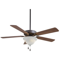 Contractor 52 inch Oil Rubbed Bronze with Medium Maple Blades Ceiling Fan in Etched Glass