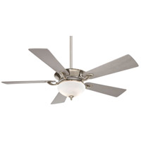 Delano 52 inch Polished Nickel with Silver Blades Ceiling Fan in White Frosted
