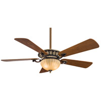 Volterra 52 inch Belcaro Walnut with Dark Walnut Blades Ceiling Fan in Aged Champagne