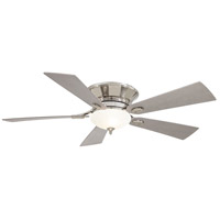 Delano 52 inch Polished Nickel with Silver Blades Ceiling Fan in White Frosted, Flush Mount
