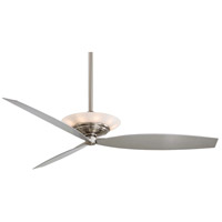 Moda 60 inch Brushed Nickel Ceiling Fan in Etched White Glass