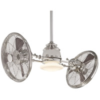 Vintage Gyro 42 inch Polished Nickel Ceiling Fan in Etched Opal, With LED Light Kit