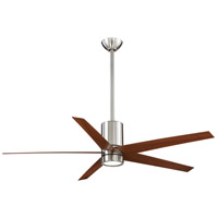Symbio 56 inch Brushed Nickel with Dark Walnut Blades Ceiling Fan in Etched Glass