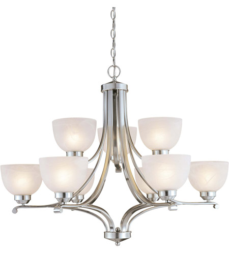 Minka-Lavery Paradox 9 Light Chandelier in Brushed Nickel 1429-84-PL photo
