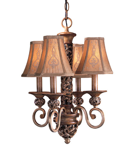 Minka-Lavery Jessica McClintock Home Salon Grand 4 Light Mini Chandelier in Florence Patina 1554-477 photo