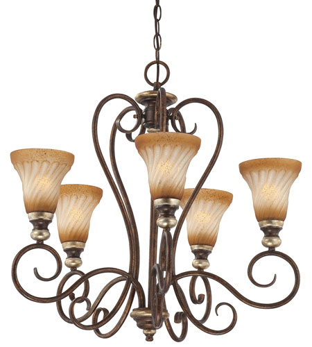 Minka-Lavery Marsoni 5 Light Chandelier in Distressed Marsoni Bronze 1985-565 photo