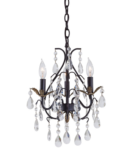 Minka-Lavery Signature 3 Light Mini Chandelier in Castlewood Walnut w/Silver Highlights 3122-301 photo