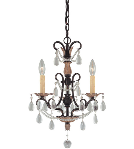 Minka-Lavery 3133-209 Signature 3 Light 16 inch Distressed Bronze Mini Chandelier Ceiling Light photo