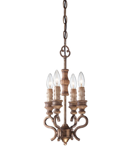 Minka-Lavery Abbott Place 4 Light Mini Chandelier in Classic Oak Patina 4206-290 photo