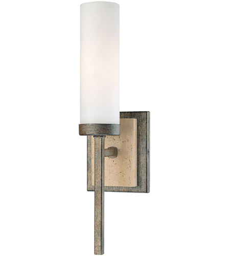 Minka-Lavery Compositions 1 Light Sconce in Aged Patina Iron w/Travertine Stone 4460-273 photo