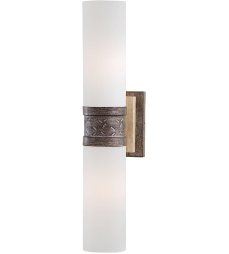 Minka-Lavery Compositions 2 Light Sconce in Aged Patina Iron w/Travertine Stone 4462-273 photo
