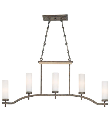 Minka-Lavery Compositions 5 Light Island Light in Aged Patina Iron w/Travertine Stone 4469-273 photo