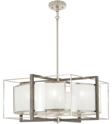 Minka Lavery 4567 098 Tysons Gate 6 Light 24 Inch Brushed Nickel With Shale Wood Pendant Ceiling