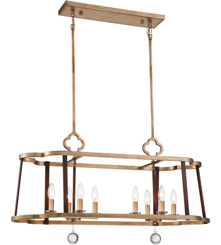 Minka-Lavery 4839-690 Ava Libertine 8 Light 36 inch Pale Gold with Distressed Bronze Island Light Ceiling Light photo thumbnail
