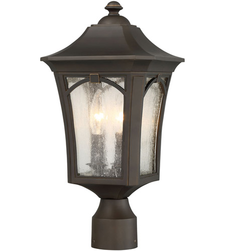 Minka-Lavery 71216-143C Solida 3 Light 18 inch Oil Rubbed Bronze with Gold Highlights Outdoor Post Mount Lantern, The Great Outdoors photo thumbnail