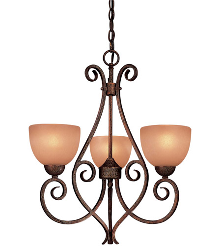 Minka-Lavery 723-355 Caspian 3 Light 21 inch Golden Bronze Mini Chandelier Ceiling Light photo