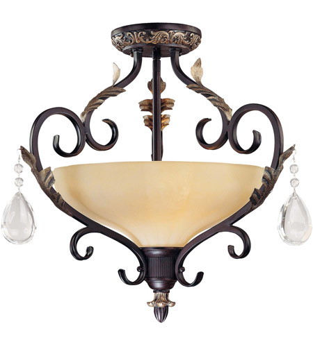 Minka-Lavery 770-301 Bellasera 2 Light 18 inch Castlewood Walnut w/Silver Highlights Semi-flush Ceiling Light photo