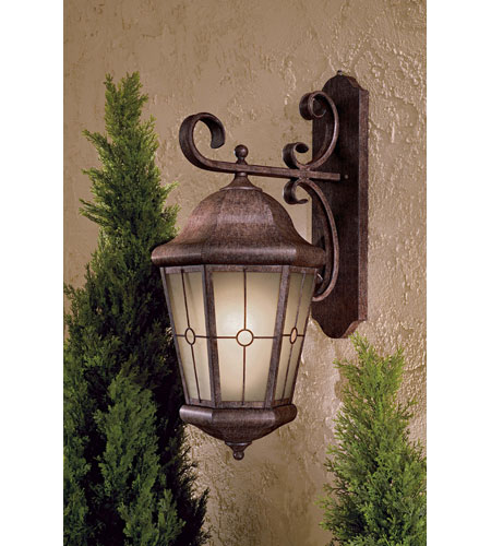 The Great Outdoors by Minka Montellero 1 Light Wall Mount in Vintage Rust Finish w/Double French Scavo Glass 8217-61-PL photo
