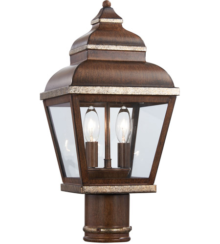 The Great Outdoors by Minka Mossoro 2 Light Post Light in Mossoro Walnut w/Silver Highlights 8266-161 photo