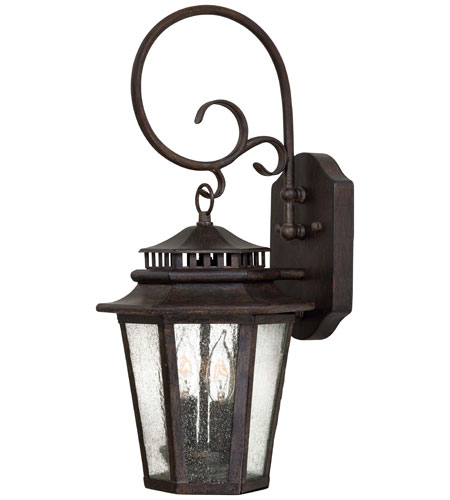 The Great Outdoors By Minka Wickford Bay 2 Light Wall Mount In Iron Oxide Finish W Clear Seeded Gl 8272 357