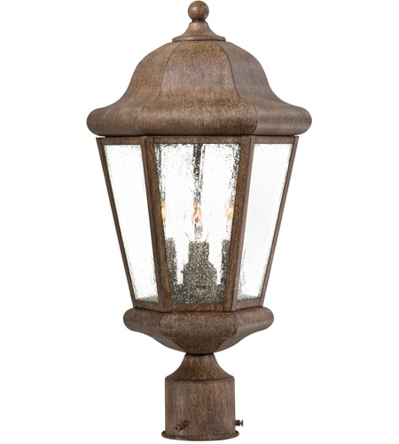 Minka-Lavery 8616-A61 Taylor Court 3 Light 19 inch Vintage Rust Outdoor Post Mount Lantern  photo