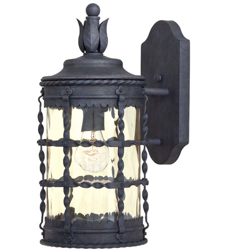 The Great Outdoors by Minka Mallorca 1 Light Wall Lamp in Spanish Iron Textured Black Powder Coat 8880-A39 photo
