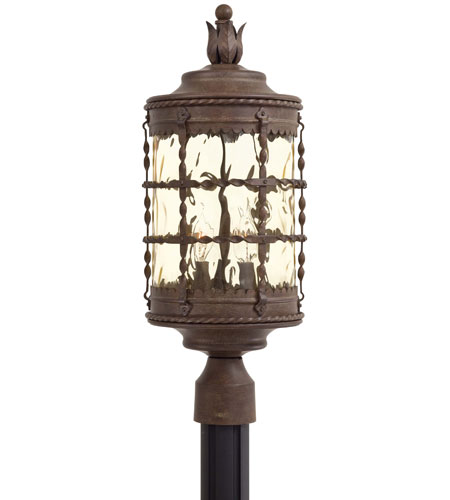 The Great Outdoors by Minka Mallorca 3 Light Post Light in Vintage Rust Powder Coat 8885-A61 photo