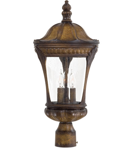 The Great Outdoors by Minka Kent Place 3 Light Post Light in Prussian Gold 9146-407 photo