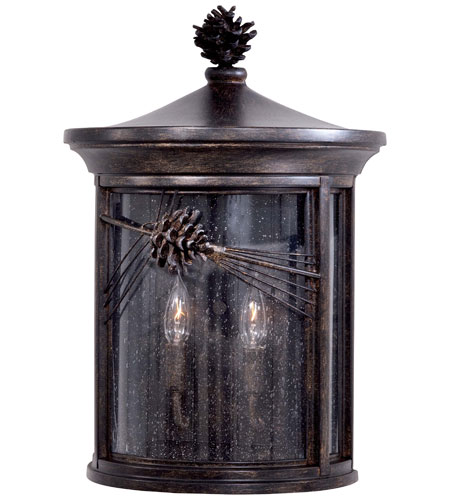 The Great Outdoors by Minka Abbey Lane 2 Light Pocket Lantern in Iron Oxide Finish w/Mouth Blown Seeded Glass 9150-357 photo