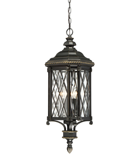 Minka Lavery 9324 585 Bexley Manor 4 Light 11 Inch Black With Gold Hightlights Outdoor Pendant The Great Outdoors