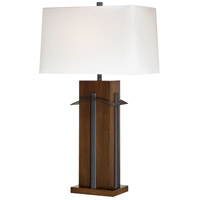 Signature 32 inch 100 watt Walnut/Black Table Lamp Portable Light