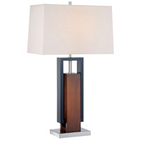 Minka-Lavery Signature 1 Light Table Lamp in Walnut And Black And Brushed Nickel 10034-0