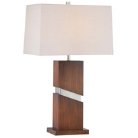 Signature 32 inch 100 watt Walnut/Brushed Nickel Table Lamp Portable Light