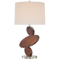 Signature 32 inch 150 watt Walnut And Brushed Nickel Table Lamp Portable Light