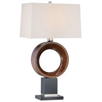 Signature 32 inch 100 watt Walnut/Black/Brushed Nickel Table Lamp Portable Light