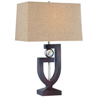 Minka-Lavery Signature 1 Light Table Lamp in Dark Brown Wood And Brushed Nickel 10050-0