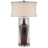 Signature 33 inch 150 watt Clear and Brown Inside Table Lamp Portable Light
