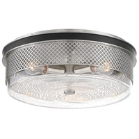 Minka-Lavery 1059-691 Coles Crossing 3 Light 15 inch Coal/Brushed Nickel Flush Mount Ceiling Light