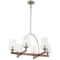Minka-Lavery 1066-699 Birnamwood 6 Light 28 inch Koa Wood/Pewter Chandelier Ceiling Light