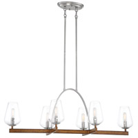 Minka-Lavery 1067-699 Birnamwood 6 Light 41 inch Koa Wood/Pewter Island Light Ceiling Light