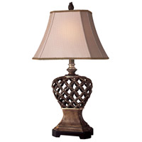 Signature 28 inch 100 watt Brown/Gold Table Lamp Portable Light
